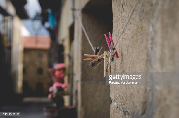 Pegs in a rope in the middle of the city