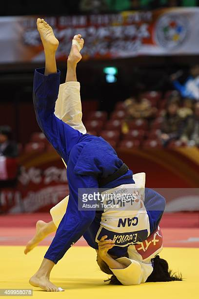 Peiju Lien of Chinese Taipei and Ecaterina Guica of Canada compete in Women's 52kg during Judo Grand Slam Tokyo 2014 at Tokyo Metropolitan Gymnasium...