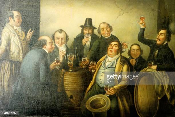 Peinture de 'la fête du vin', conservée au musée de Bergerac en France.