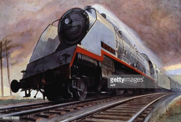 Peinture du train à vapeur Super-Mountain reliant Paris au Havre le 6 octobre 1934 en France.