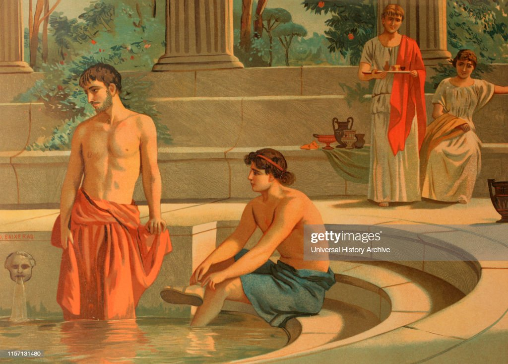 Peisistratos and Telemachus in the Palace of Menelaus in Sparta. : News Photo