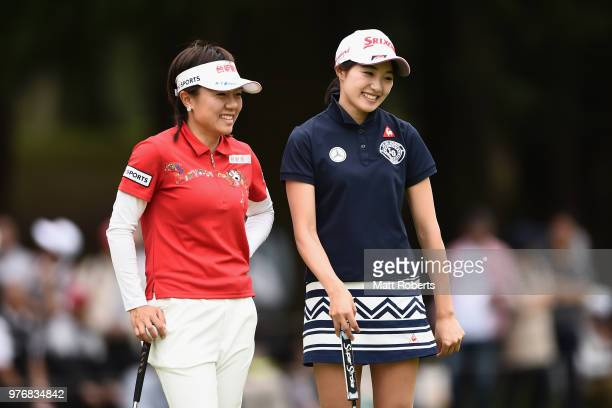 PeiYing Tsai of Taiwan and Momoka Miura of Japan share a laugh on the 18th green during the final round of the Nichirei Ladies at the Sodegaura...