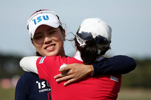 PeiYing Tsai of Taiwan hugs Heeyoung Park after their final round on the 18th Beach Course hole during Day Four of the ISPS Handa Vic Open at 13th...
