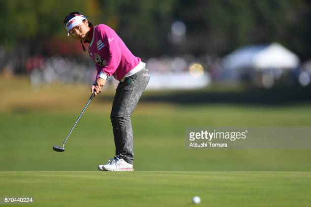 PeiYing Tsai of Taiwan putts on the 1st hole during the final round of the TOTO Japan Classics 2017 at the Taiheiyo Club Minori Course on November 5...