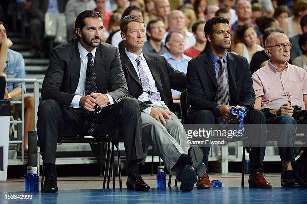 Peja Stojakovic and Detlef Schrempf takes in the game of the Dallas Mavericks against FC Barcelona Regal during NBA Europe Live 2012 on October 9...
