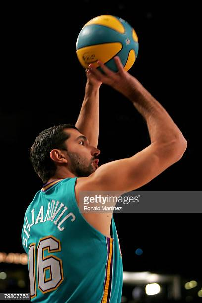 Peja Stojakovic of the New Orleans Hornets participates in the Foot Locker ThreePoint Shootout part of 2008 NBA AllStar Weekend at the New Orleans...