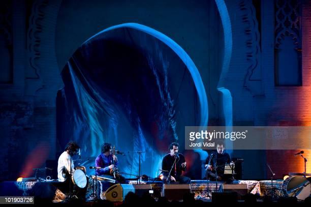 Pejman Hadadi Sina Jahanabadi Shahram Nazeri and Hafez Nazeri perform at Bab Al Makina as part of the Fez Festival Of World Sacred Music on June 8...