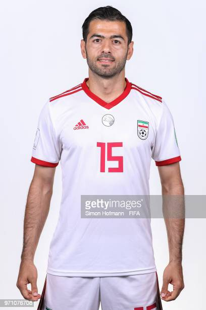 Pejman Montazeri of Iran poses during the official FIFA World Cup 2018 portrait session at Bakovka Training Base on June 9 2018 in Moscow Russia