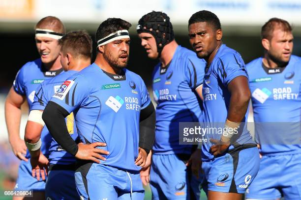 Pek Cowan and Isireli Naisarani of the Force look on during the round seven Super Rugby match between the Force and the Kings at nib Stadium on April...
