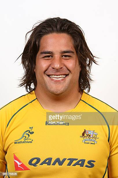 Pek Cowan poses during the Australian Wallabies squad headshots session at Crown Plaza Coogee on October 20 2009 in Sydney Australia