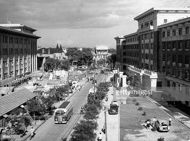 Peking A scene of Tung Chiao Min Hsiang On the right is a new hotel and on the opposite side is a hospital that will be completed soon October 1954