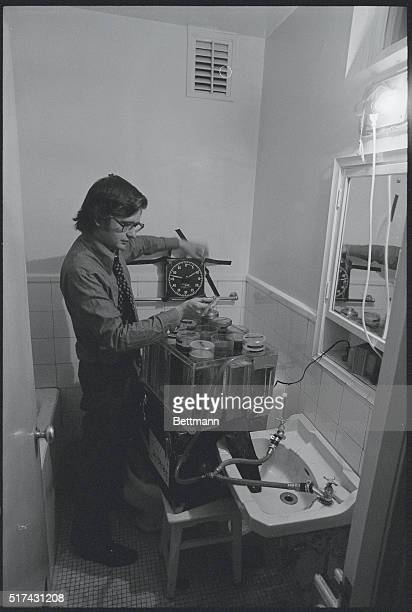 President Nixon's Trip To China UPI photographer Dirck Halstead processing color in hotel bathroom in UPI's darkroom