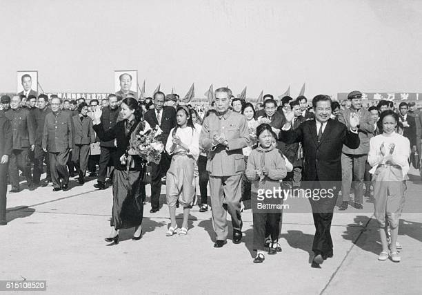 Peking: Deposed Cambodian head of state Norcdom Sihanouk and Princess Monique Sihanouk arrive in Peking after visiting North Vietnam. They were...