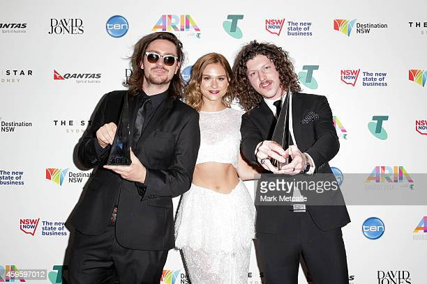 Peking Duck pose after winning an ARIA for Best Dance Release the 28th Annual ARIA Awards 2014 at the Star on November 26 2014 in Sydney Australia