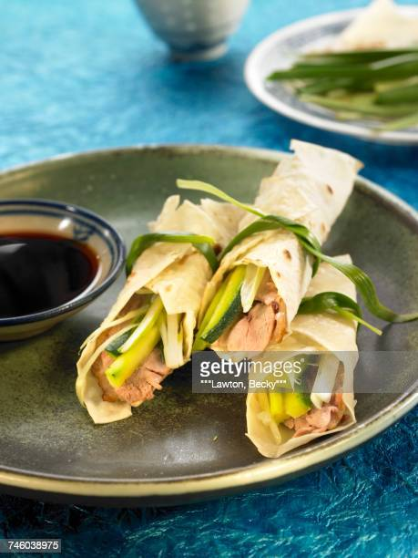 Peking duck,zucchini and ginger wraps