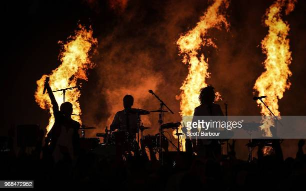 Peking Duk perform during game one of the State Of Origin series between the Queensland Maroons and the New South Wales Blues at the Melbourne...