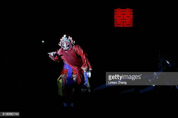 Peking Opera actor Performance during the Sheguang Hu Collection in the MercedesBenz China Fashion Week Autumn/Winter 2016/2017 at 751DPark on March...
