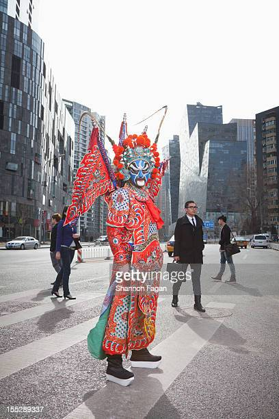 Peking Opera Character in Modern city square