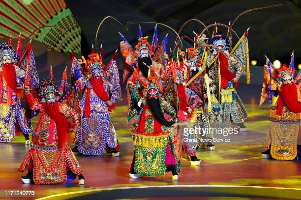 Peking Opera dancers perform during the opening ceremony of 2019 FIBA Basketball World Cup at the Beijing National Aquatics Center on August 30 2019...