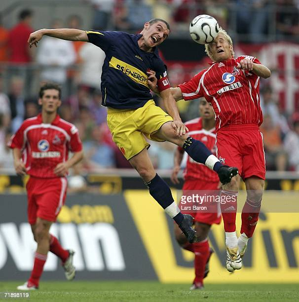 Pekka Lagerblom of Cologne with Daniel Graf of Braunschweig during the Second Bundesliga match between 1FC Cologne and Eintracht Braunschweig at the...