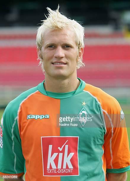 Pekka Lagerblom poses during the team presentation of Werder Bremen for the Bundesliga season 2005 2006 on July 15 2005 in Bremen Germany