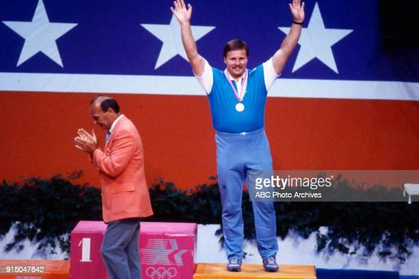 Pekka Niemi Weightlifting medal ceremony Albert Gersten Pavilion at the 1984 Summer Olympics August 1 1984