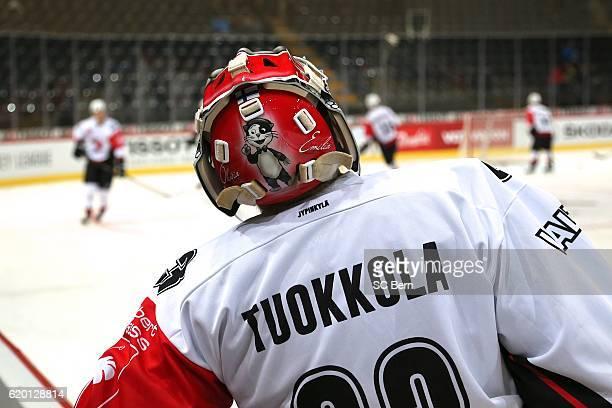 Pekka of Jyvaskyla during the Champions Hockey League Round of 16 match between SC Bern and JYP Jyvaskyla at PostFinance Arena on November 1, 2016 in...