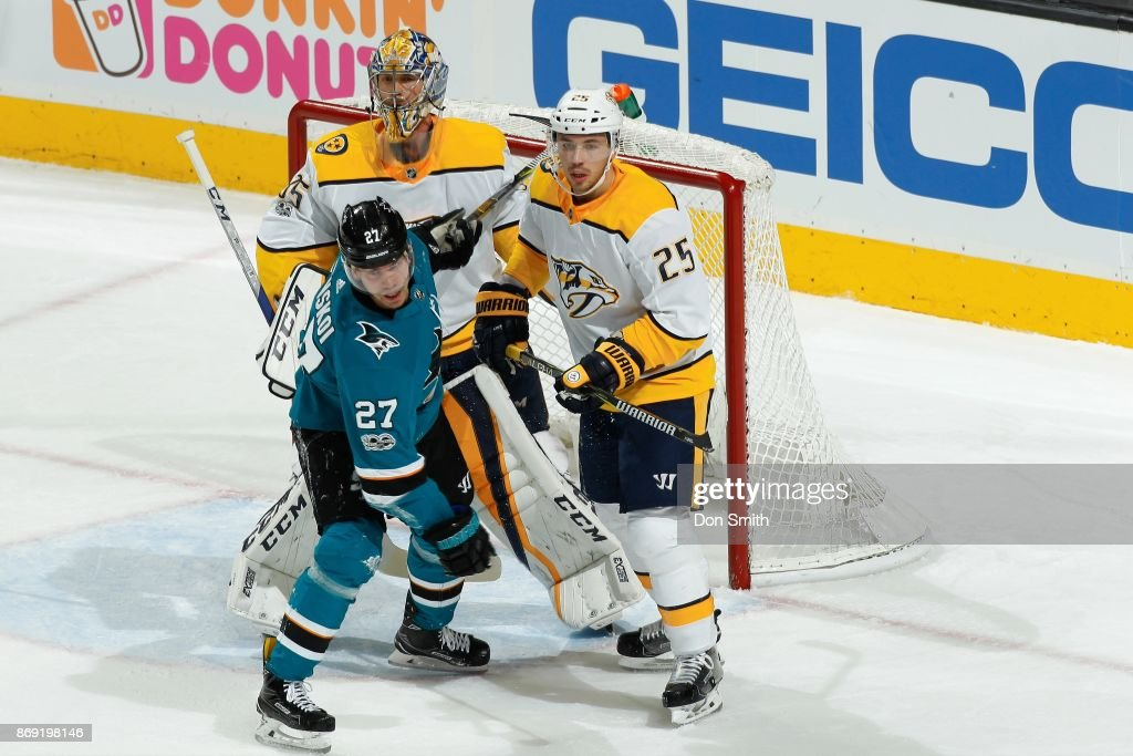 Pekka Rinne #35 and Alexei Emelin #25 of the Nashville Predators defend against Joonas Donskoi #27 of the San Jose Sharks at SAP Center on November 1, 2017 in San Jose, California.