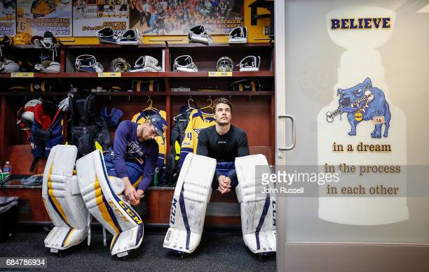 Pekka Rinne and Juuse Saros of the Nashville Predators prepare for Game Four of the Western Conference Final against the Anaheim Ducks during the...
