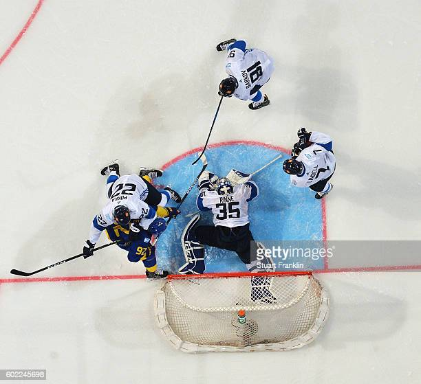 Pekka Rinne of Finland makes a save from Niklas Backstrom of Sweden during the World Cup of Hockey game between Finland and Sweden at the Hartwell...