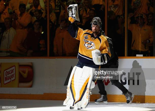 Pekka Rinne of the Nashville Predators acknowledges the crowd after his team defeated the Pittsburgh Penguins 51 in Game Three of the 2017 NHL...