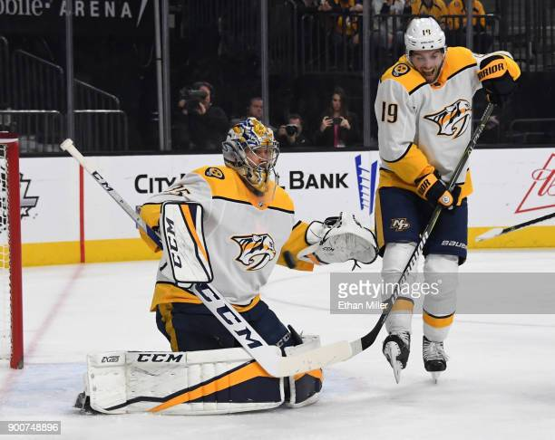 Pekka Rinne of the Nashville Predators blocks a Vegas Golden Knights shot as Calle Jarnkrok defends in the second period of a game at TMobile Arena...