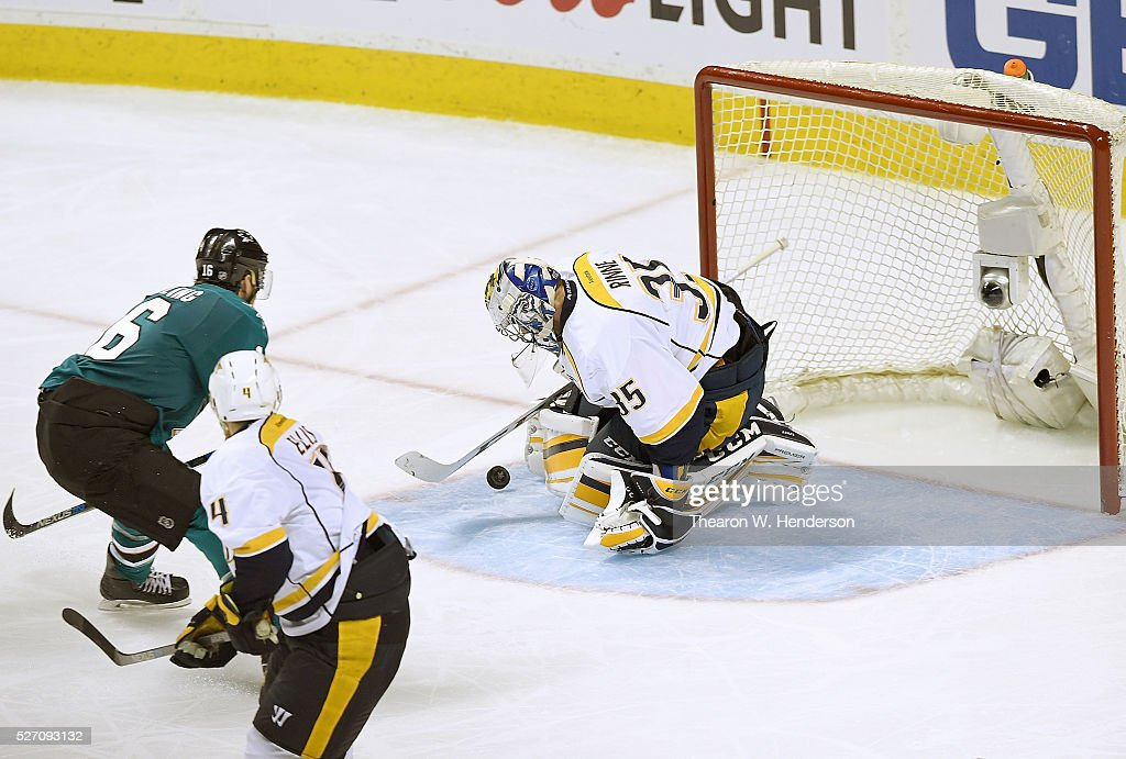 Pekka Rinne #35 of the Nashville Predators blocks the shot of Nick Spaling #16 of the San Jose Sharks in Game Two of the Western Conference Second Round during the 2016 NHL Stanley Cup Playoffs. at SAP Center on May 1, 2016 in San Jose, California. The Sharks won the game 3-2.