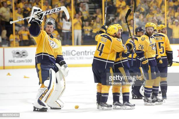 Pekka Rinne of the Nashville Predators celebrates with teammates after defeating the Pittsburgh Penguins 51 in Game Three of the 2017 NHL Stanley Cup...
