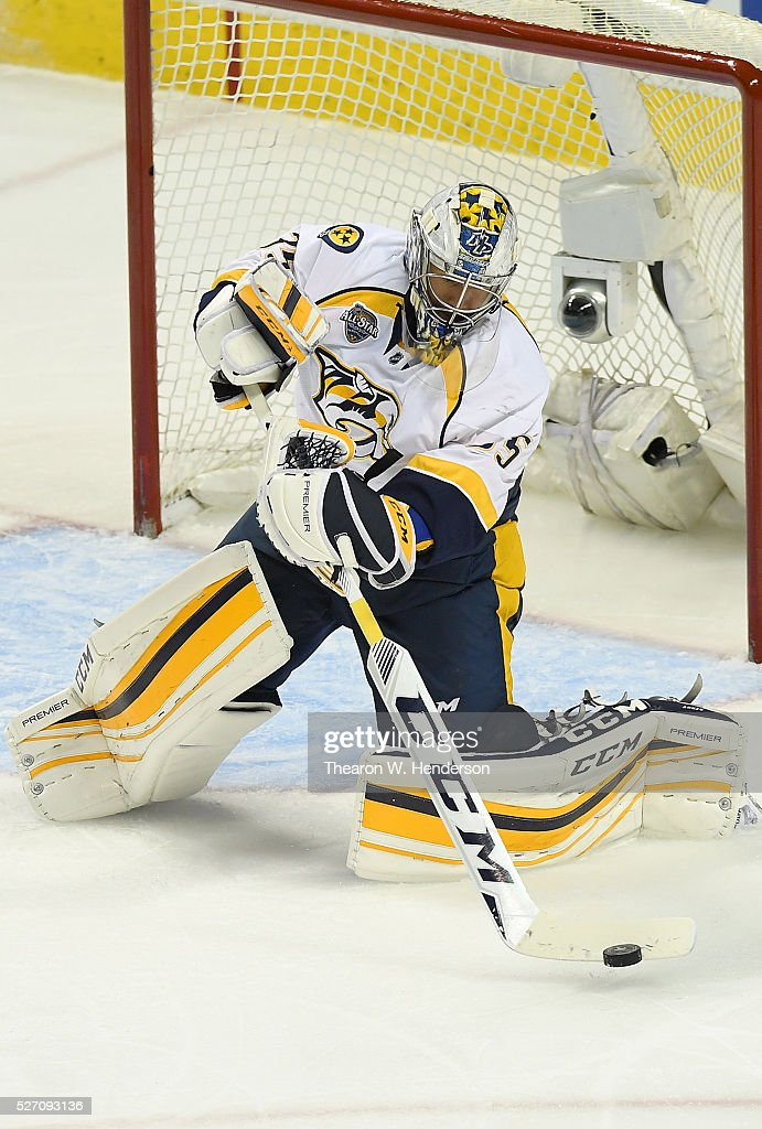 Pekka Rinne #35 of the Nashville Predators clears the puck away from his goal against the San Jose Sharks in Game Two of the Western Conference Second Round during the 2016 NHL Stanley Cup Playoffs. at SAP Center on May 1, 2016 in San Jose, California.