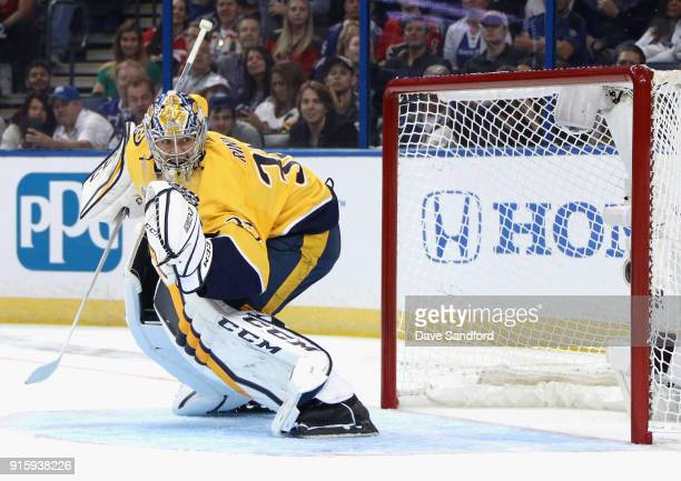 Pekka Rinne of the Nashville Predators competes in the GEICO NHL Save Streak during 2018 GEICO NHL AllStar Skills Competition at Amalie Arena on...