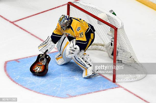 Pekka Rinne of the Nashville Predators competes in the Honda NHL Breakaway Challenge during the 2016 Honda NHL AllStar Skill Competition at...