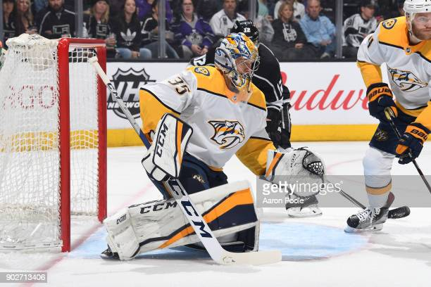Pekka Rinne of the Nashville Predators defends the net during a game against the Los Angeles Kings at STAPLES Center on January 6 2018 in Los Angeles...