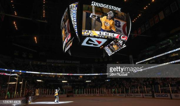 Pekka Rinne of the Nashville Predators is celebrated after a 5-0 win against the Carolina Hurricanes at Bridgestone Arena on May 10, 2021 in...