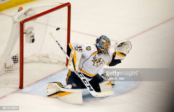 Pekka Rinne of the Nashville Predators is scored on by Evgeni Malkin of the Pittsburgh Penguins in Game Two of the 2017 NHL Stanley Cup Final at PPG...