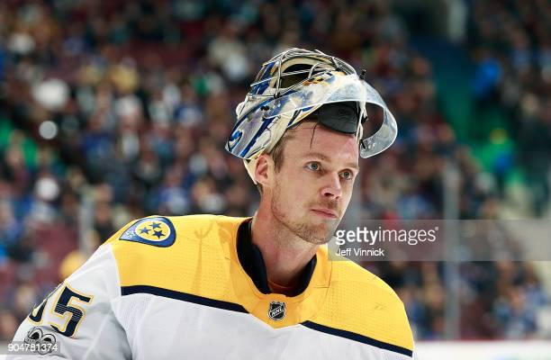 Pekka Rinne of the Nashville Predators looks on from his crease during their NHL game against the Vancouver Canucks at Rogers Arena December 13 2017...