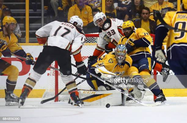 Pekka Rinne of the Nashville Predators makes a save against Ryan Kesler of the Anaheim Ducks during the first period in Game Four of the Western...