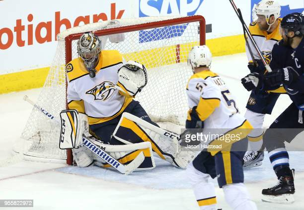 Pekka Rinne of the Nashville Predators makes a save against the Winnipeg Jets in Game Six of the Western Conference Second Round during the 2018 NHL...