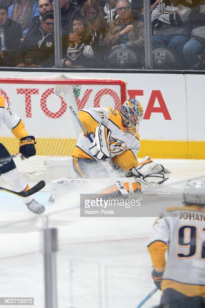 Pekka Rinne of the Nashville Predators makes a save during a game against the Los Angeles Kings at STAPLES Center on January 6 2018 in Los Angeles...