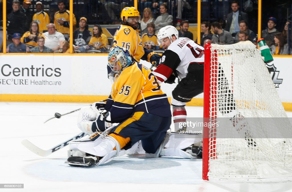 Pekka Rinne #35 of the Nashville Predators makes the save against the Arizona Coyotes during an NHL game at Bridgestone Arena on March 20, 2017 in Nashville, Tennessee.