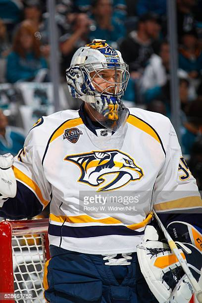Pekka Rinne of the Nashville Predators protects the net against the San Jose Sharks in Game Two of the Western Conference Semifinals during the 2016...