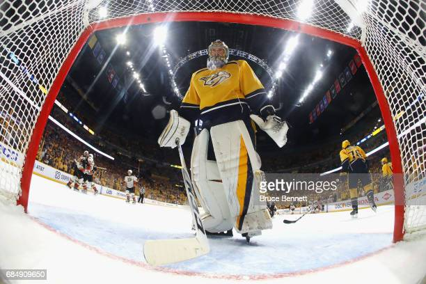 Pekka Rinne of the Nashville Predators reacts after Corey Perry of the Anaheim Ducks scored a goal during the overtime period to win Game Four of the...