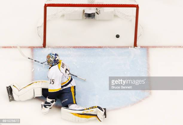 Pekka Rinne of the Nashville Predators reacts after giving up a goal during the third period in Game Two of the 2017 NHL Stanley Cup Final against...