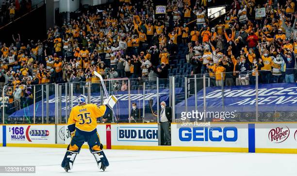 Pekka Rinne of the Nashville Predators receives a standing ovation after a 5-0 win against the Carolina Hurricanes at Bridgestone Arena on May 10,...