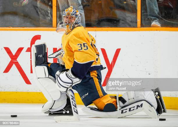 Pekka Rinne of the Nashville Predators stretches in warmups prior to an NHL game against the Vegas Golden Knights at Bridgestone Arena on January 16...